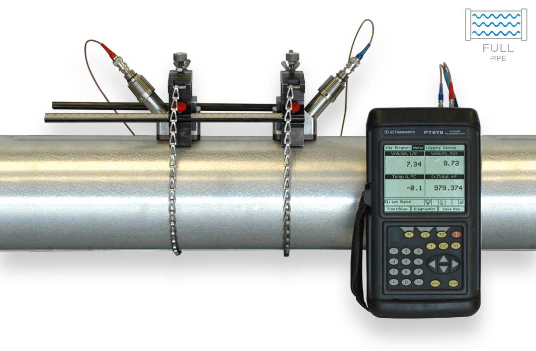 PT878 ultrasonic flow meter installation next to pipe