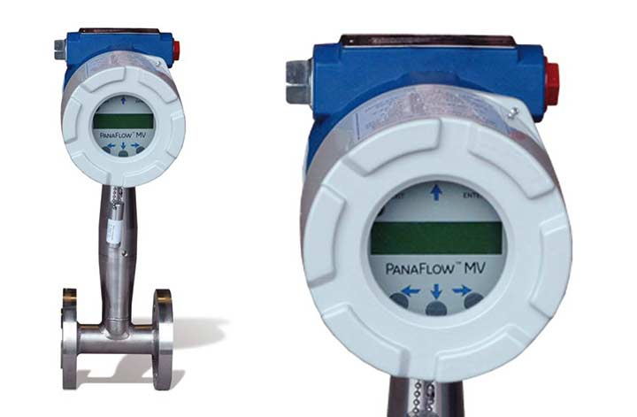 MV80 Vortex Flow Meter and MV80 close up of display