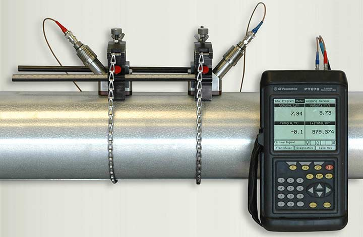 Rental PT878 ultrasonic flow meter next to pipe