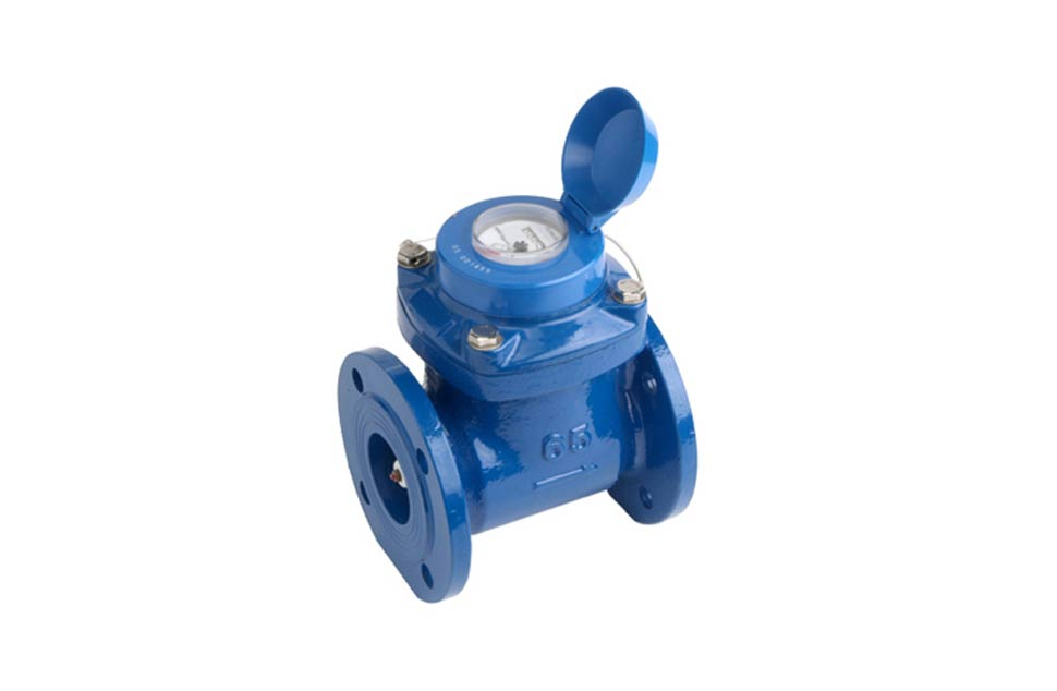 Blue Woltmann Turbine water flow meter with cap open