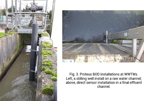 Fig 3. Two Proteus BOD installations at WWTWs. One showing a stilling well install on a raw water channel. The other showing a direct sensor installation in a final effluent channel