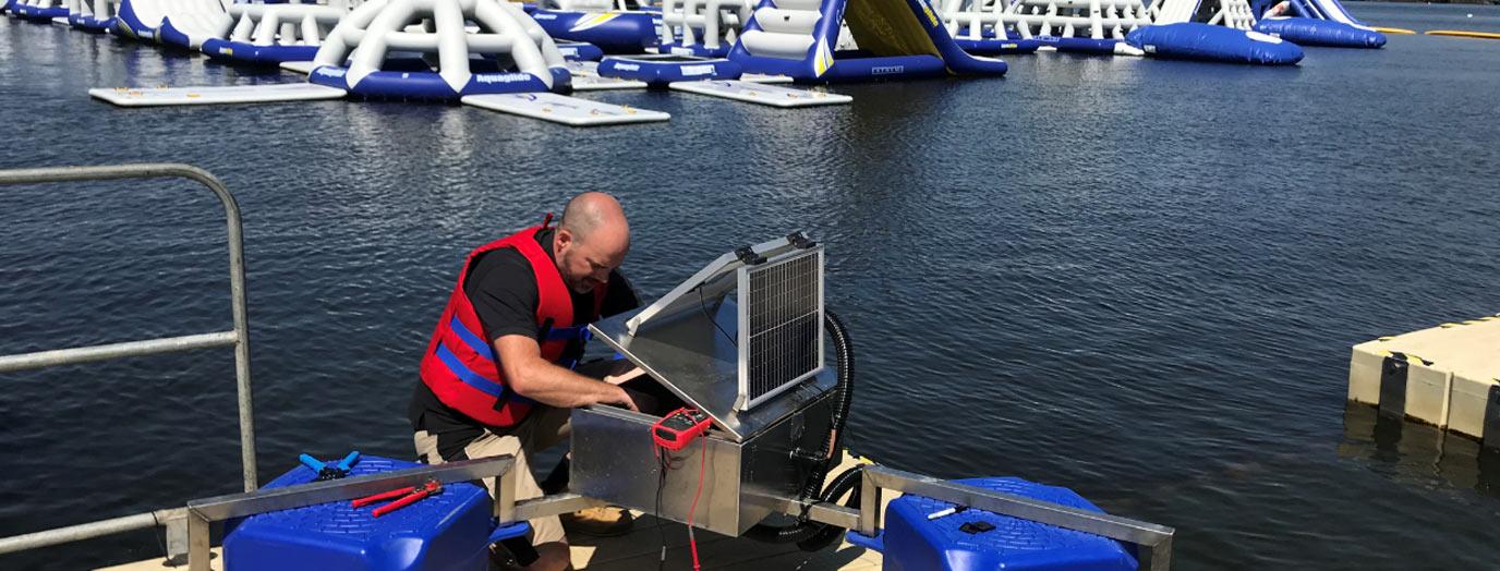 Engineer working on installation
