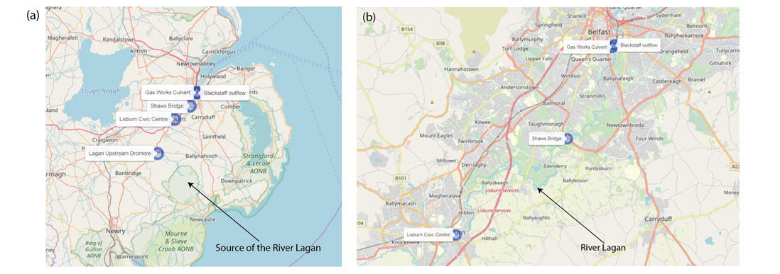 maps of river lagan and it's source